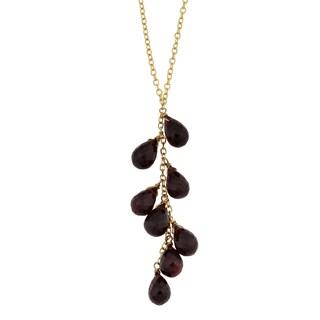 Fremada 14k Yellow Gold Garnet Briolette Lariat Necklace (16 inches)