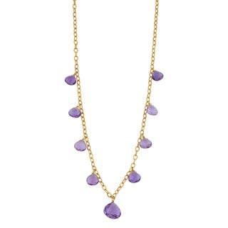 Fremada 14k Yellow Gold Amethyst Cleopatra Necklace (17 inches)
