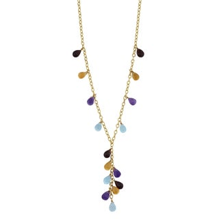 Fremada 14k Yellow Gold Multi Semi Precious Briolette Gemstones Lariat Necklace (17 inches)