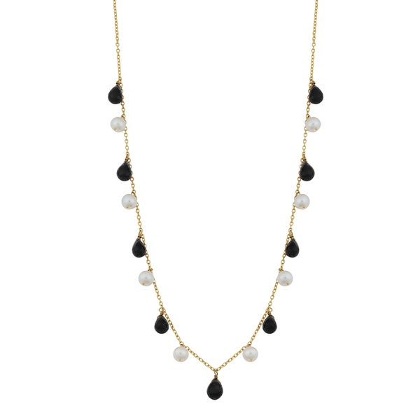 Fremada 14k Yellow Gold Alternate Black Onyx and Pearl Cleopatra Necklace (16 inches)