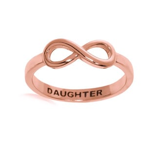 Eternally Haute 14k Rose Goldplated Sterling Silver Daughter Infinity Ring