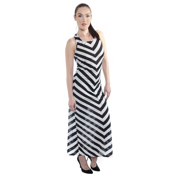 Women's Two-Tone Summer Stripe Maxi Dress
