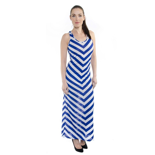 Women's Mesh Accent Summer Stripe Tank Top Maxi Dress