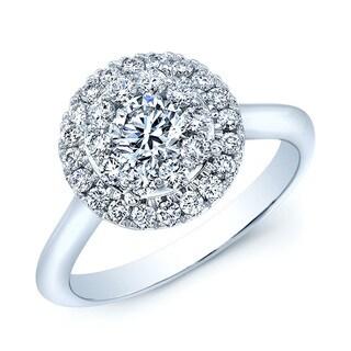 14k White Gold 1ct TDW Diamond Halo Ring (H-I, VS1-VS2)