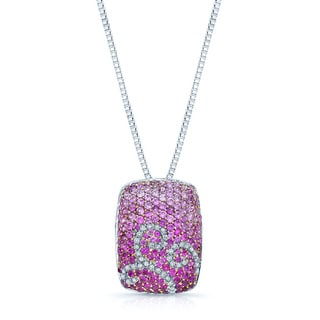 18k White Gold Pink Sapphire 1/5ct TDW Diamond Necklace (H-I, SI1-SI2)