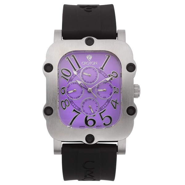 Men's Silvertone Stainless Multi-Function Purple Dial Watch with Silicon Strap