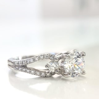 Lihara and Co. 18k White Gold Cubic Zirconia and 2/5ct TDW Diamond Semi-Mount Engagement Ring (G-H, VS1-VS2)