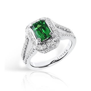 Lihara and Co. 18k White Gold Tsavorite and 5/8ct TDW Diamond Ring (G-H, VS1-VS2)