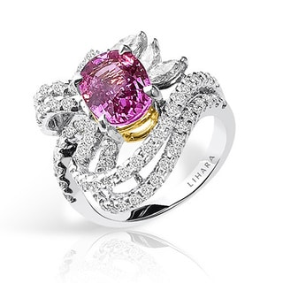 Lihara and Co 18k White and Yellow Gold Pink Sapphire and 1 1/10ct TDW Diamond Ring (G-H, VS1-VS2)