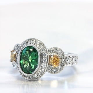 Lihara and Co 18k White Gold Tsavorite and 7/8ct TDW White and Yellow Diamond Ring (G-H, VS1-VS2)