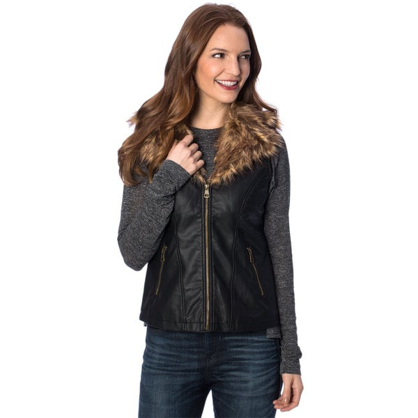Women's Black Removable Faux Fur Collar PU Vest