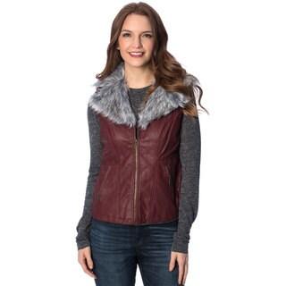 Women's Removable Faux Fur Collar PU Vest