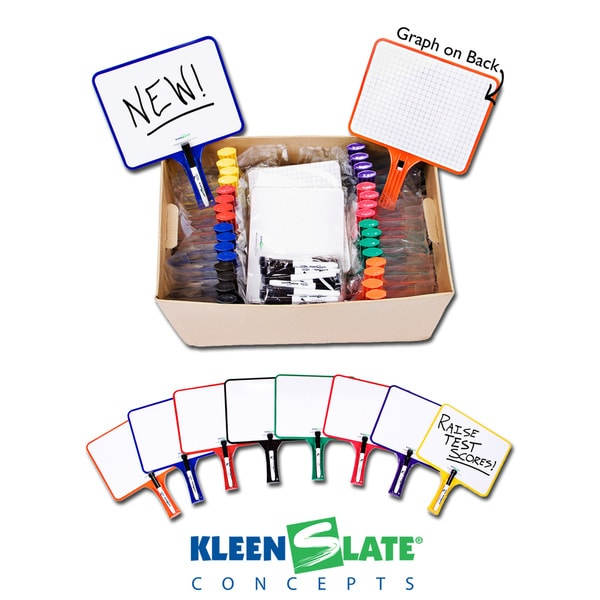 KleenSlate Hand Held Dry Erase Rect Paddle Classroom Kit, Blank/Graph