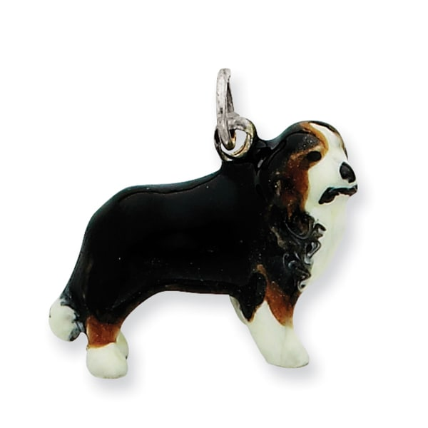 Sterling Silver Enameled Bernese Mountain Dog Charm