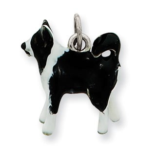 Sterling Silver Enameled Border Collie Dog Charm