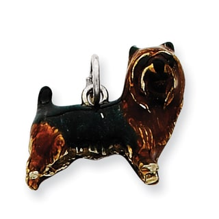 Sterling Silver Enameled Brown and Black Cairn Terrier Charm