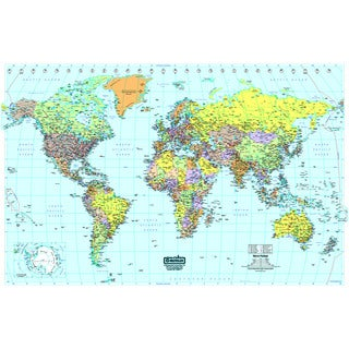 World Laminated Map, 50-inch x 33