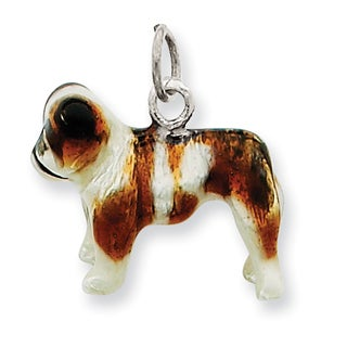 Sterling Silver Enameled Bulldog Charm