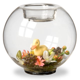 4-inch Glass Candle Holder with Flowers and Ducklings - Set of 4