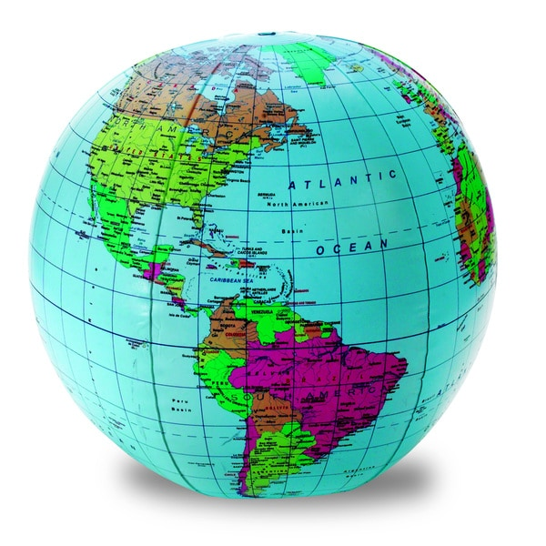 (3 EA) Inflatable 12-inch World Globe