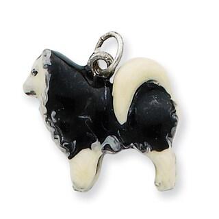 Sterling Silver Enameled Husky Dog Charm