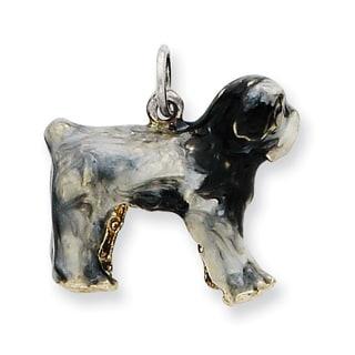 Sterling Silver Enameled Old English Sheepdog Charm