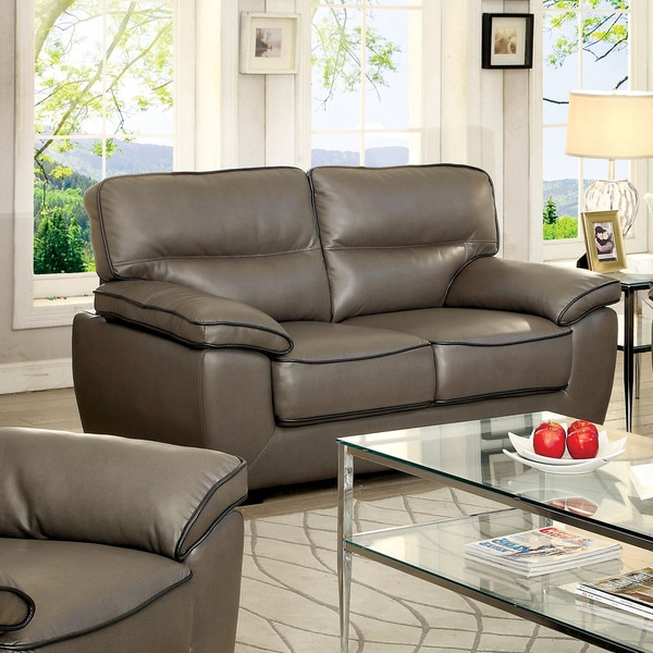 Furniture of America Scottie Contemporary Grey Leatherette Loveseat