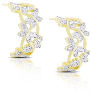 Finesque Gold Overlay Diamond Accent Dragonfly Half Hoop Earrings