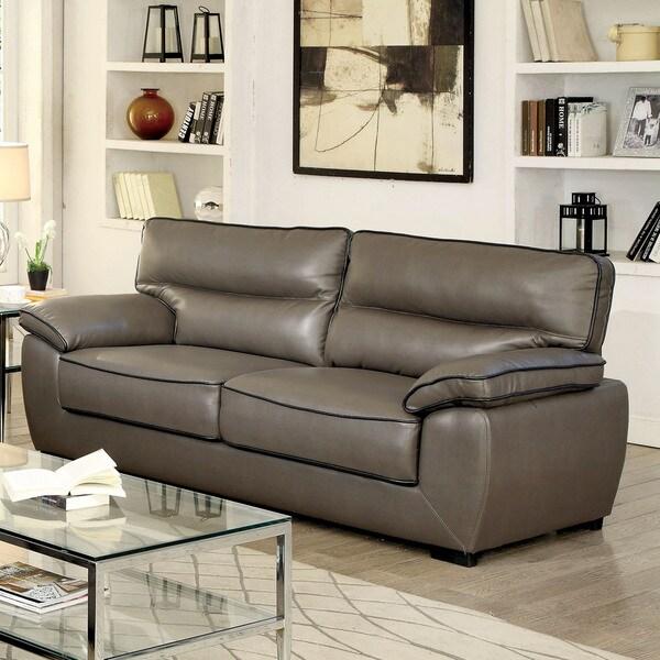 Furniture of America Scottie Contemporary Grey Leatherette Sofa