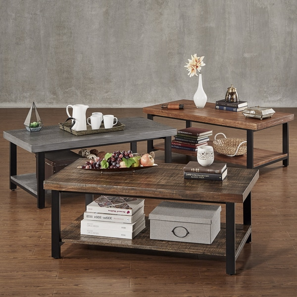 Tribecca Home Cyra Industrial Reclaimed Rectangular Cocktail Table 18170856