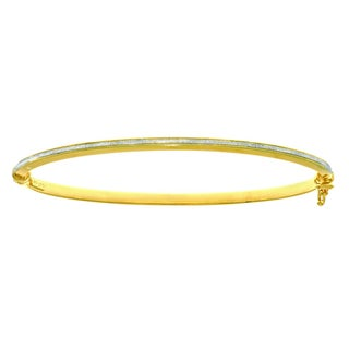 14 Karat Yellow Gold Polish Finished 2.92mm Dust Bangle Bracelet with Box Tongue and Safety Closure, 7.25-inch