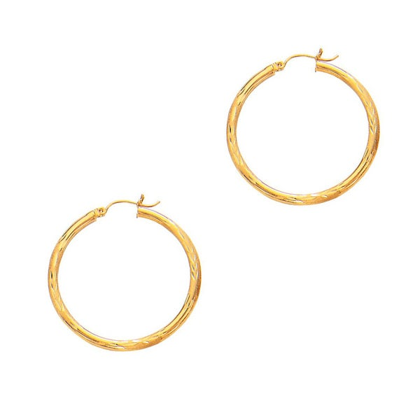 14k Yellow Gold Polish Finished 35mm Diamond Cut Hoop Earrings with Hinge with Notched Closure