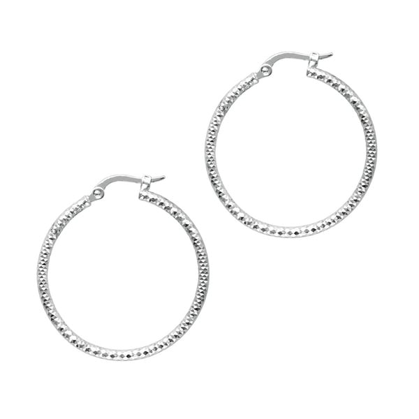 14k White Gold Polish Finished 25mm Etched Hoop Earrings with Hinge with Notched Closure