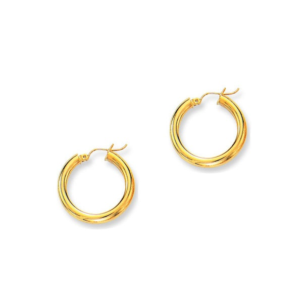 14k Yellow Gold Polish Finished 25mm Hoop Earrings with Hinge with Notched Closure