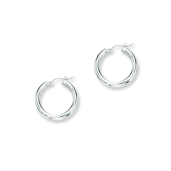 14k White Gold Polish Finished 25mm Hoop Earrings with Hinge with Notched Closure