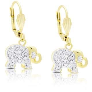 Finesque Gold Overlay Diamond Accent Dangling Elephant Earrings