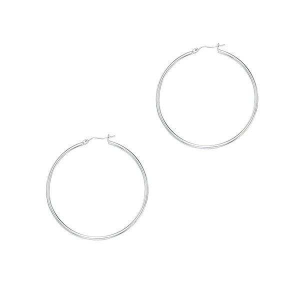14k White Gold Polish Finished 60mm Hoop Earrings with Hinge with Notched Closure
