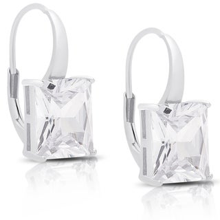 Dolce Giavonna Sterling Silver Cubic Zirconia Square Leverback Earrings