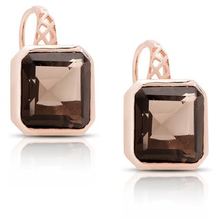 Dolce Giavonna Rose Gold Over Sterling Silver Smokey Quartz Square Leverback Earrings