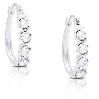 Dolce Giavonna Sterling Silver White Topaz Leverback Hoop Earrings