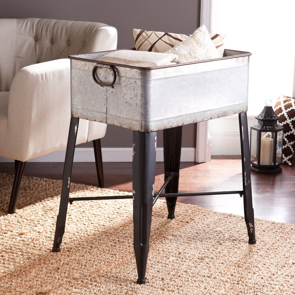 Upton Home Arundel Galvanized Finish Accent Table