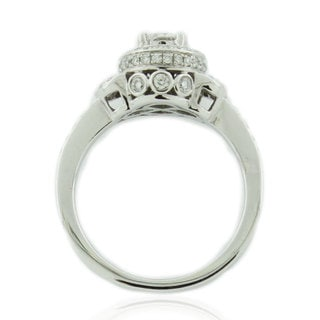 Suzy Levian Limited Edition 14K White Gold and Diamond Round Bridal Engagament Ring