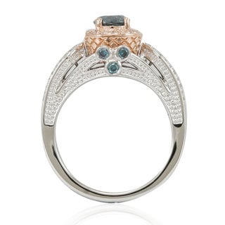 Suzy Levian Two-Tone White and Rose Gold Blue Diamond Ring