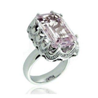 Suzy Levian 18k White Gold, Diamond Accent and Asscher-Cut Kunzite Ring