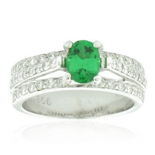 Suzy Levian 14k White Gold, Green Tsavorite and Diamond Anniversary Ring