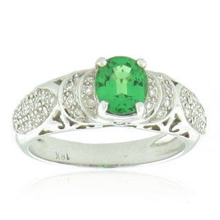 Suzy Levian 18k White Gold Green Tsavorite and Diamond Vintage Bridal Ring