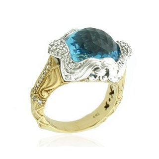 Suzy Levian 18k Two-Tone Gold 11.68ct Topaz and Diamond Vintage Ring