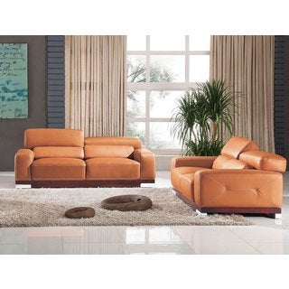 Luca Home Sunset Orange Sofa and Loveseat Set