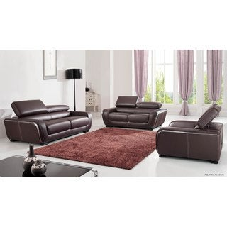 Luca Home Chocolate Sofa Loveseat and Chair Set