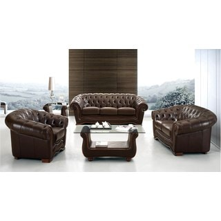 Luca Home Brown Italian Leather Sofa, Loveseat and Chair Set